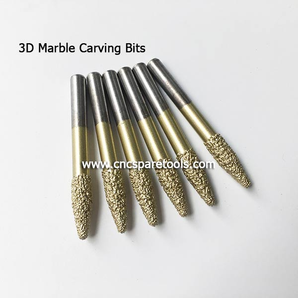 Conical Brazing Sintered Diamond Router Bits for Marble Granite Stone 3D Carving and Cutting