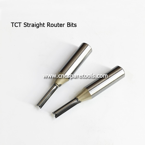 TCT Straight Router Bits Tungsten Carbide Two Straight Flutes Cutters for Woodworking